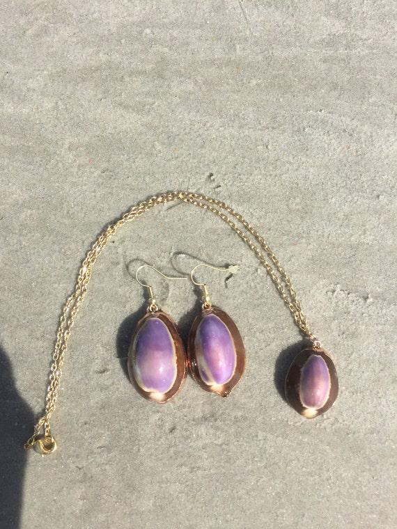 Purple Cowrie Shell Jewelry Set