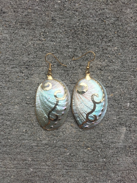 White Abalone Statement Earrings
