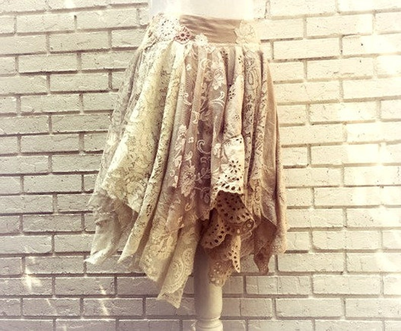 Tattered Lace Skirt  Gypsy Skirt  Lace Fairy Skirt  Barn image 0