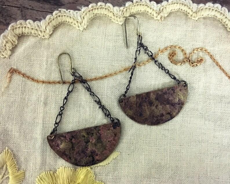 Statement Earrings  Boho Earrings  Large Brass Earrings  image 0