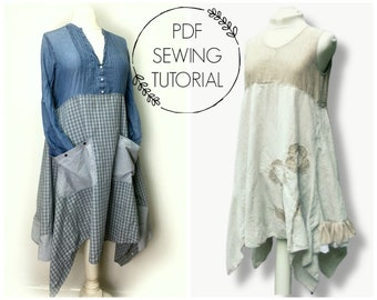 Long Tunic Pattern - PDF Sewing Tutorial -  Upcycled Clothing Tutorial - Tunic Pattern for Women - This is a tutorial, not a pattern