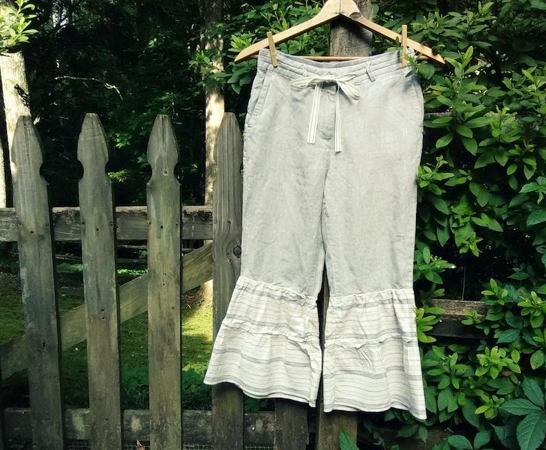 Linen Bloomers  Linen Pantaloons  Shabby Chic Capris  image 0