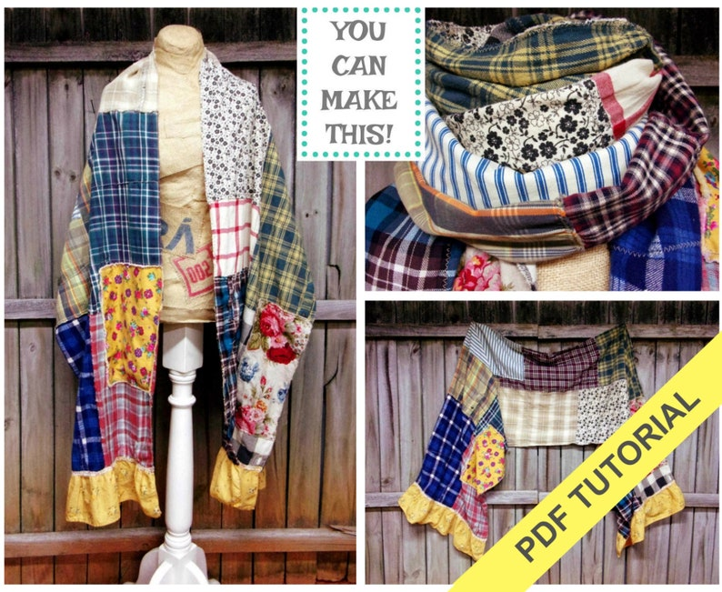 Scarf Patterns  PDF Sewing Tutorial  Blanket Scarf  Sewing image 0