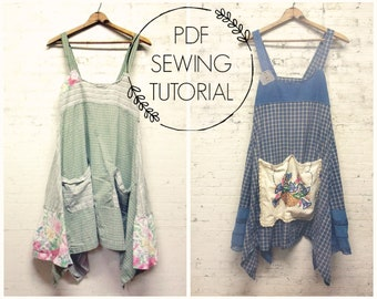 PDF Sewing Tutorial - Women's Pinafore DIY - Upcycled Sewing Class - Women's Jumper Tutorial - This is a tutorial, not a pattern