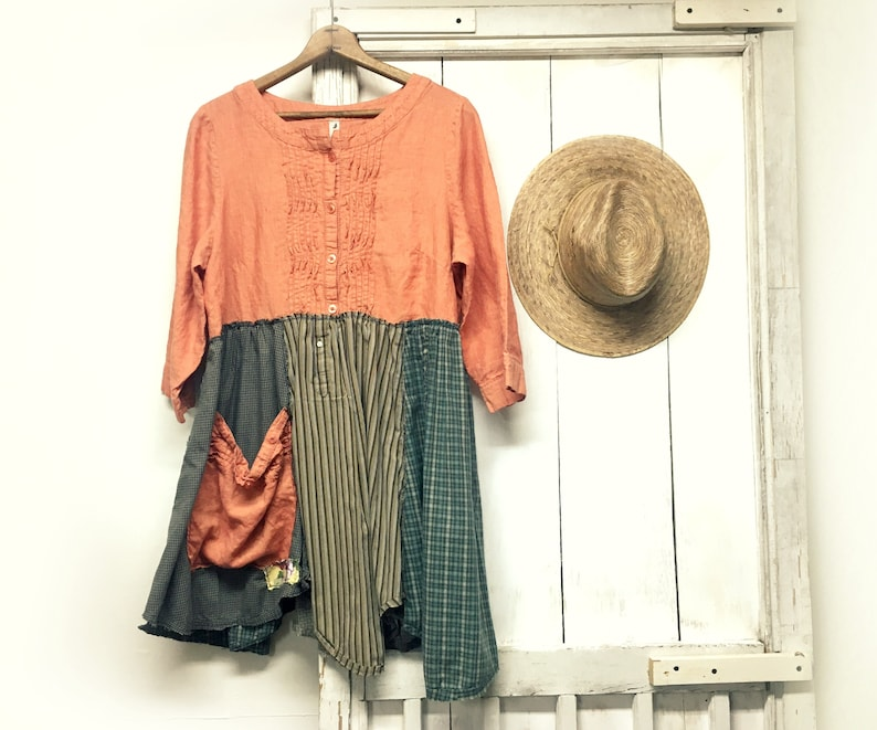 Upcycled Clothing  Boho Tunic  Rustic Clothing  Boho Style image 0
