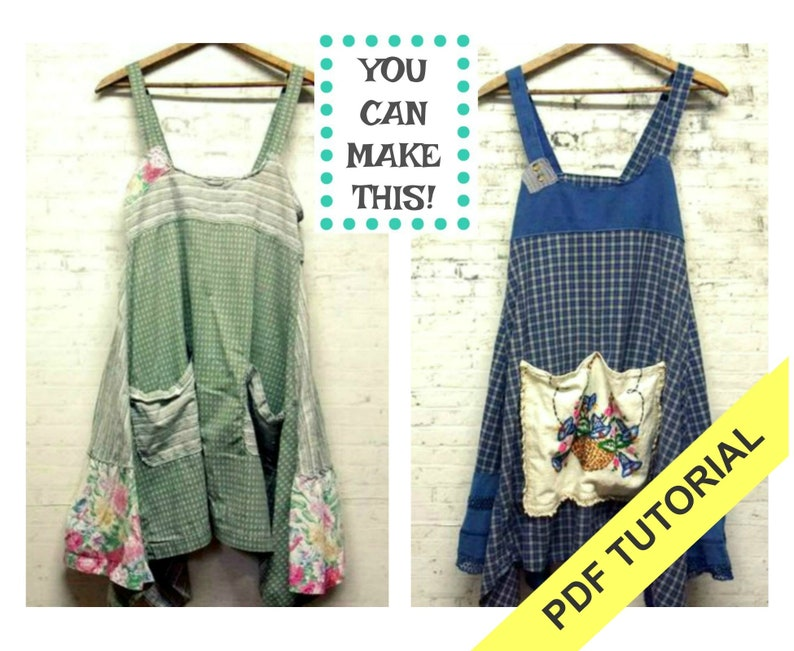 PDF Sewing Tutorial  Women's Pinafore Pattern  Sewing image 0