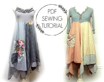Dress Tutorial - Sewing DIY - Boho Dress Tutorial - Upcycled Sewing Class - Hippie Dress DIY - This  is a tutorial, not a pattern