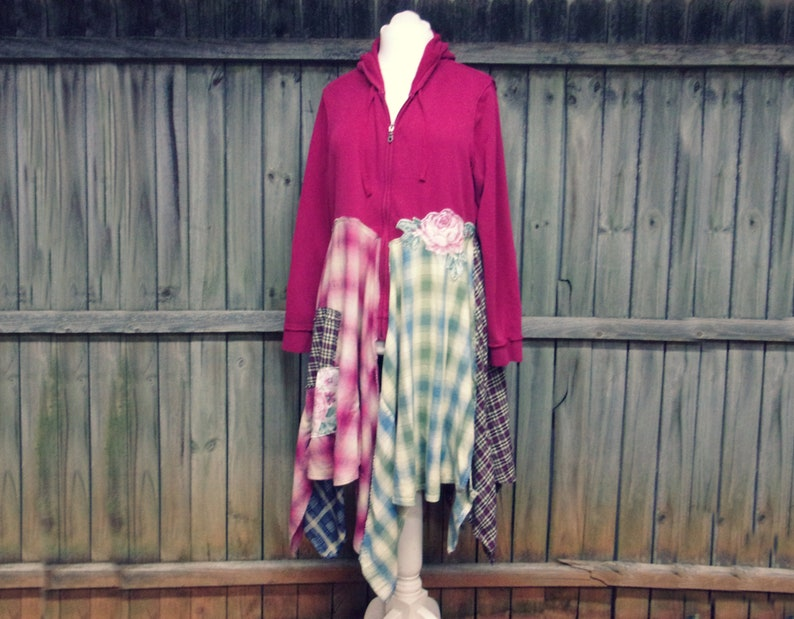 Flannel Duster Long Flannel Jacket Flannel Hoodie Boho image 0