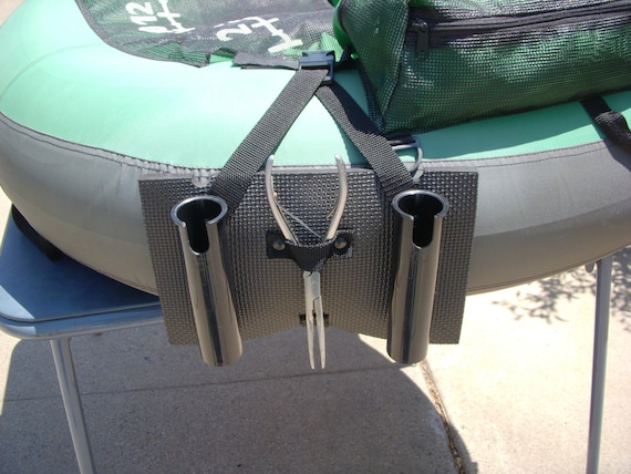 FISHING FLOAT TUBE DOUBLE ROD //POLE HOLDER WITH FISH HEAD DRINK HOLDER