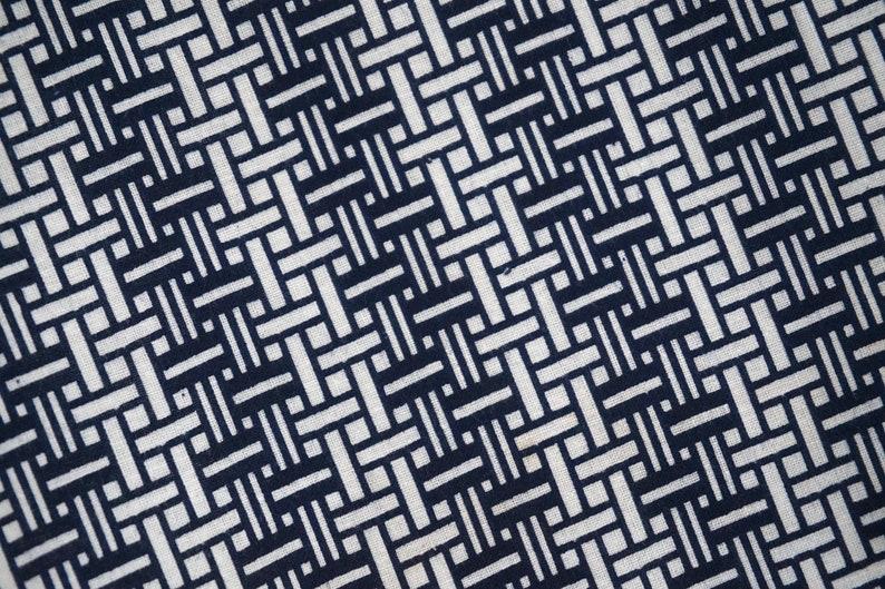 Indigo geometric cotton yukata fabric Vintage Japanese kimono fabric