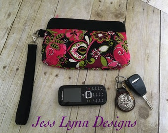Wristlet wallet | Clutch purse | Key fob wallet | Purple black and Paisley floral