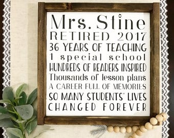 Teacher Retirement Sign Gift Retire Farmhouse Framed Rustic