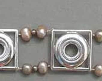 Flute Jewelry, Sterling Silver Flute Key, Bracelet - Fresh Water Pearl and Key in Frame Music Bracelet