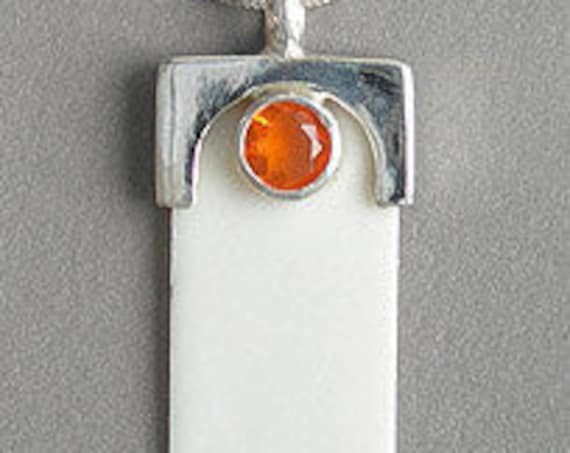 Imitation Ivory Pendant with Gemstone