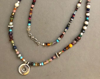 Flute Jewelry, Sterling Silver Flute Key, Necklace - One-of-a-kind, Multi-Gem Open Hole Beaded Key Wrap Necklace