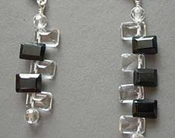 Music Jewelry, Earrings, Sterling Silver - Piano Black and White Octave Earrings