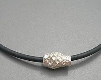 Music Jewelry, Sterling Silver Flute Key,  Necklace - Turban Bead Bassoon Pendant (Unisex)