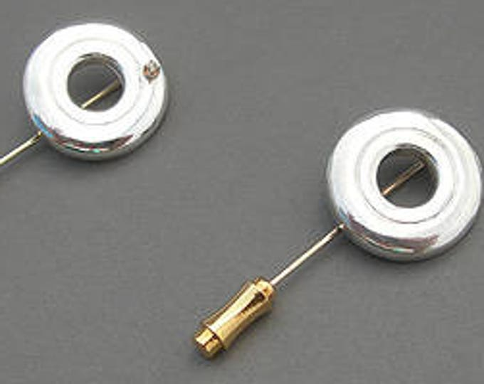 Flute Jewelry,Flute Pins,Sterling Silver Flute Key, Pin - Open Hole Stick Lapel Pins