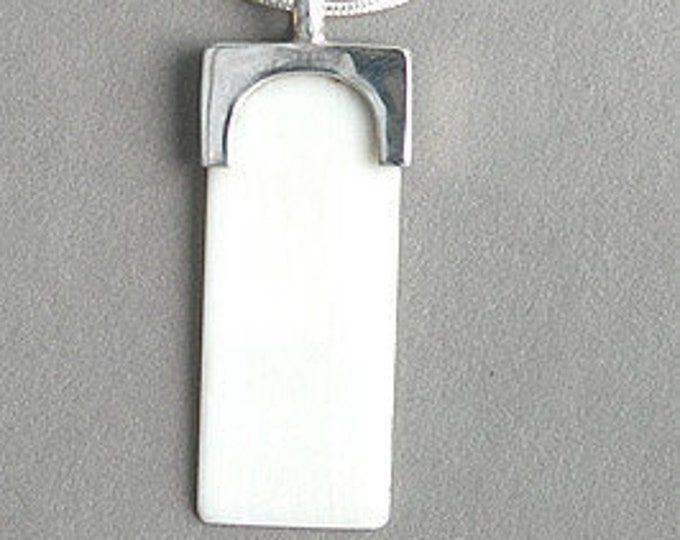 Music Jewelry, Necklace, Sterling Silver - Imitation Ivory Piano Key Pendant