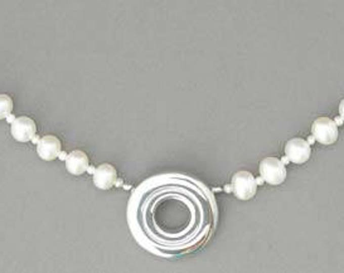 Flute Jewelry, Sterling Silver Flute Key, Necklace - Open Hole on 4mm Pearl Pendant