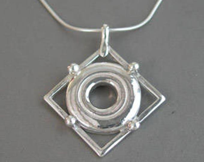 Flute Jewelry, Sterling Silver Flute Key, Necklace - Open Hole Flute Key In Frame Pendant