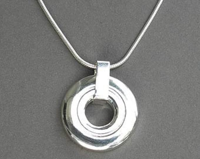 Flute Jewelry, Sterling Silver Flute Key,  Necklace - New Open Hole Flute Key Modern Music Pendant