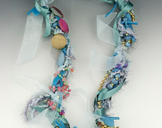 One-of-a-kind, recycled vintage necklace, Wound Treasures-Blue Buttons
