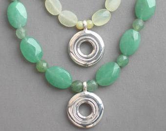 Flute Jewelry, Sterling Silver Flute Key, Necklace - Open Hole Flute Key Necklace on Jade Pendant