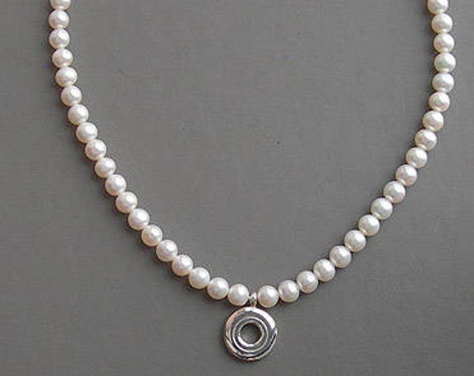 Flute Jewelry, Sterling Silver Flute Key, Necklace - Open Hole and Pearl, Ivory 6.5mm Pearls Pendant