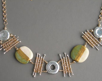 Flute Jewelry, Sterling Silver Flute Key, Necklace - Flutist's Dream 14K Gold Bead African Necklace