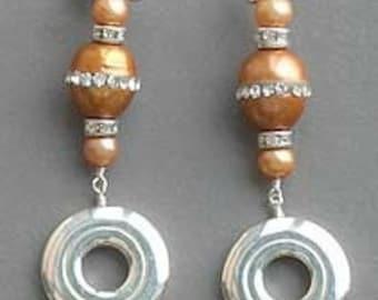 Flute Jewelry, Sterling Silver Flute Key, Earrings - Open Hole Key and CZ Pearl Earrings
