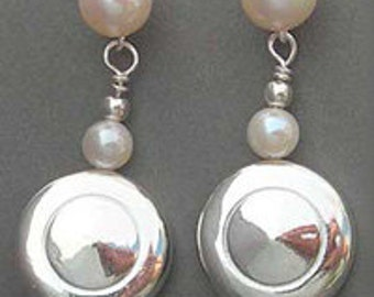 Flute Jewelry, Sterling Silver Flute Key, Earrings - Tiny Trill Flute Keys and Pearl Earrings