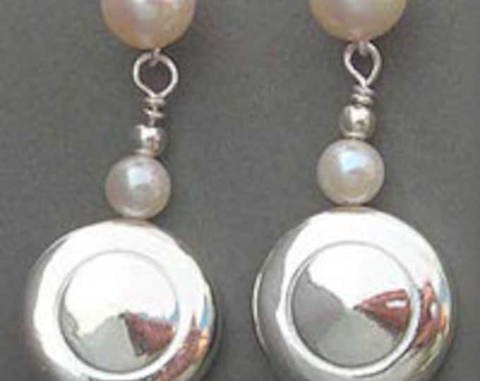 Flute Jewelry, Sterling Silver Flute Key, Earrings - Tiny Trill Flute Keys and Pearl Earrings