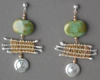 Flute Jewelry, Sterling Silver Flute Key, Earrings - Flutist's Dream 14K Gold Bead African Earrings