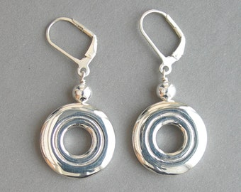 Flute Jewelry Earrings; Solid Sterling Silver Open Hole
