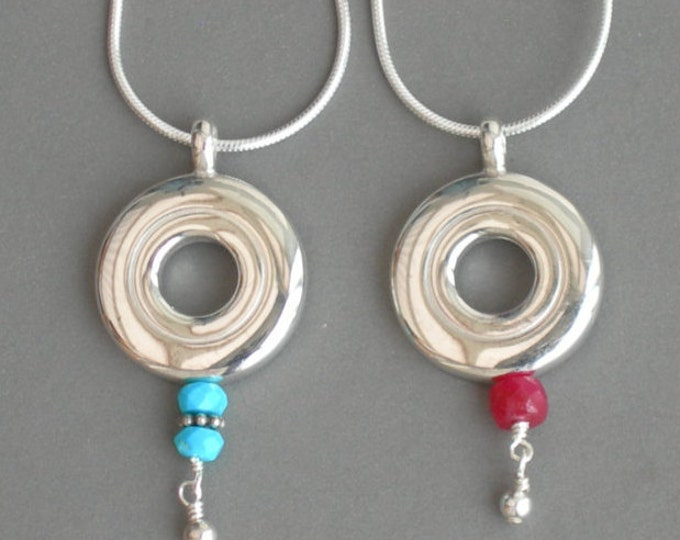 Flute Jewelry, Sterling Silver Flute Key, Necklace - Gemstones and Open Hole Pendant, Red Blue