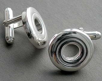 Flute Jewelry, Sterling Silver Flute Key, Cufflinks - Open Hole Flute Key French Cufflinks Suit and Tie