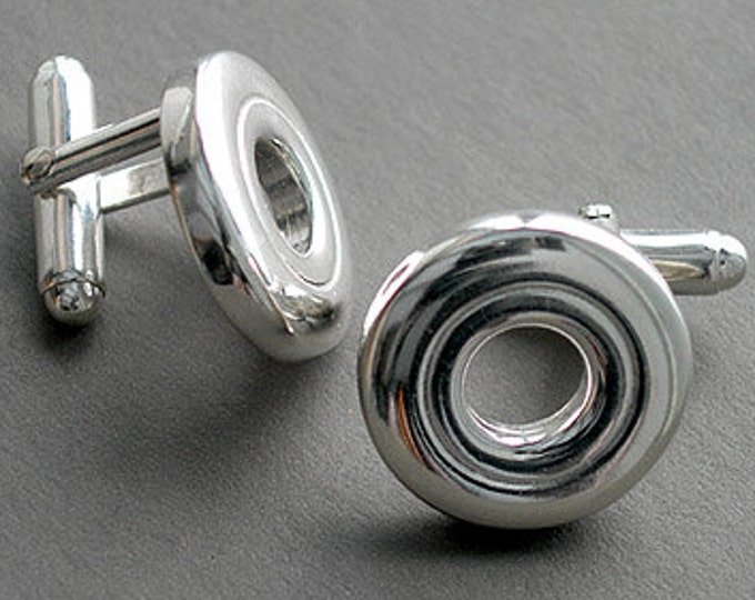 Flute Jewelry Cufflinks,Flute Jewelry for Men, Sterling Silver Flute Key, Cufflinks - Open Hole Flute Key French Cufflinks Suit and Tie
