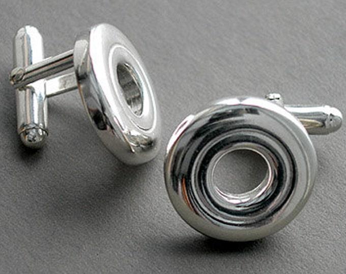 Flute Jewelry, Sterling Silver Flute Key, Cufflinks - Open Hole Flute Key French Cufflinks Suit and Tie