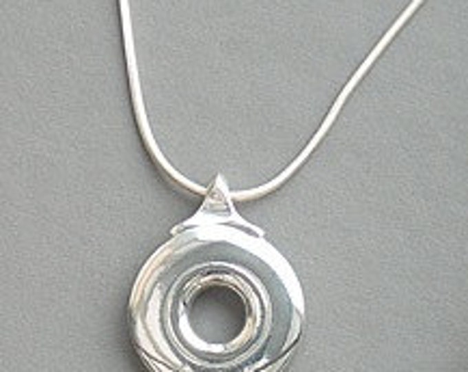 Flute Jewelry, Sterling Silver Flute Key, Necklace - Bass Open Hole Key Pendant On Silver Chain Man Woman (Unisex)
