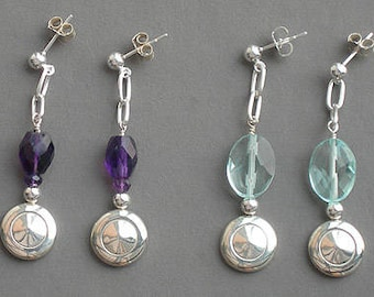 Flute Jewelry, Sterling Silver Flute Key, Earrings - Tiny Trill with Amethyst or Quartz and Chain