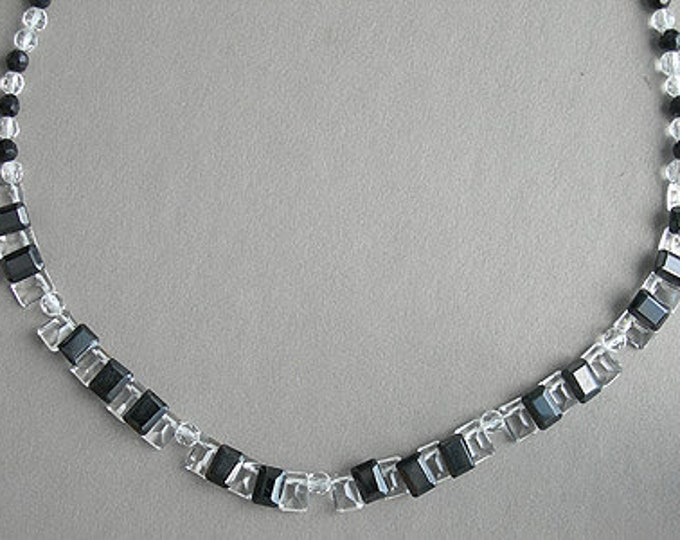 Music Jewelry, Necklace, Sterling Silver - Piano Keys, Beads, Black and White