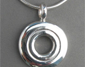 Flute Jewelry, Sterling Silver Flute Key, Necklace - Open Hole Pendant (Unisex)