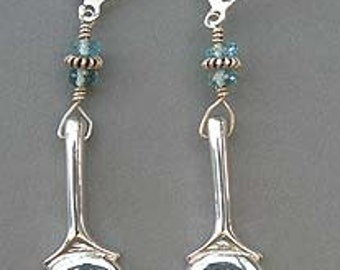Flute Jewelry, Sterling Silver Flute Keys, Earrings - C-Key Earrings with Gem Stones