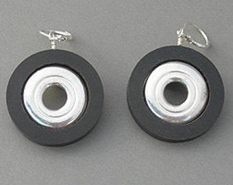 Flute Jewelry, Sterling Silver Flute Key, Earrings - Inner Key Open Hole Wood Wire Dangle Earrings