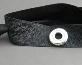 Flute Jewelry, Sterling Silver Flute Key, Bracelet - Leather Open Hole Flute Key Wrap Bracelet Genderless (Unisex)