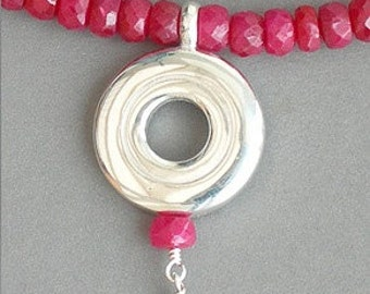Flute Jewelry, Sterling Silver Flute Key,  Necklace - Stunning Open Hole on Ruby Gemstone Holiday Red Pendant