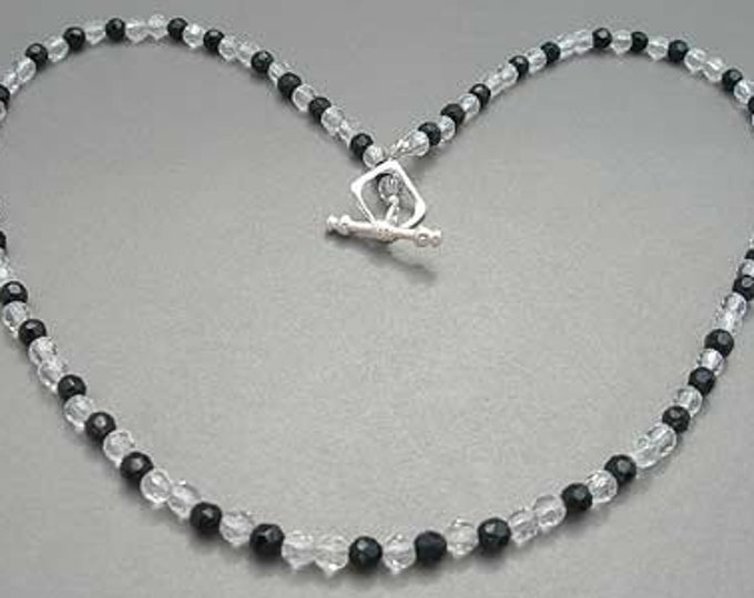 Music Jewelry, Necklace, Sterling Silver - Piano Beads Black and White Musician Gift