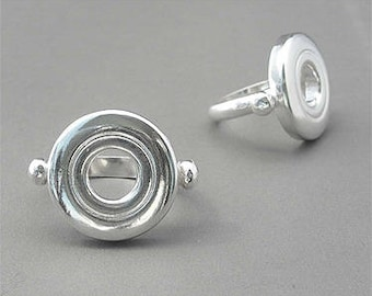Flute Jewelry, Sterling Silver Flute Key, Ring - Open Hole Ring, last one: size 5-3/4.