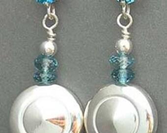Flute Jewelry, Sterling Silver Flute Key, Earrings - Tiny Trill Flute Key Earrings With Gemstones
